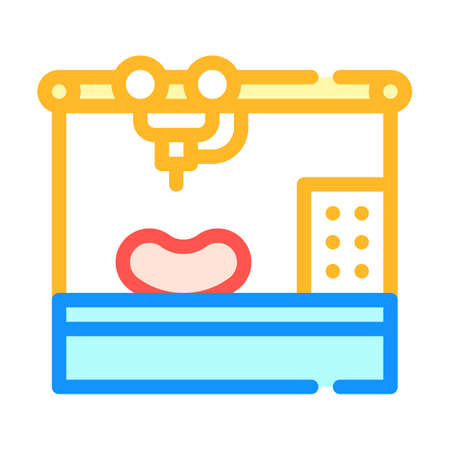 bioengineering printing organs on printer color icon vector illustration
