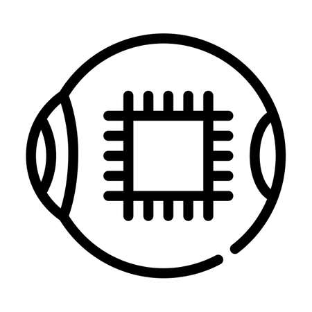 microchip for good eye vision line icon vector illustration
