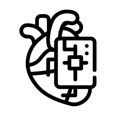 microchip for heart line icon vector illustration