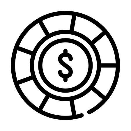 casino chip line icon vector isolated illustration