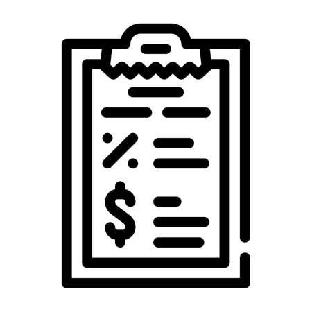 report revenue and percentage line icon vector illustration Vettoriali