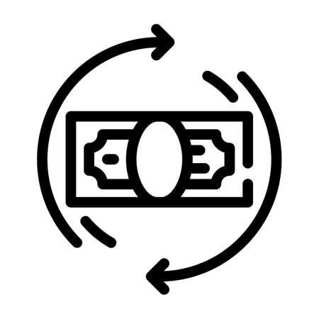 money banknote circle arrows line icon vector illustration