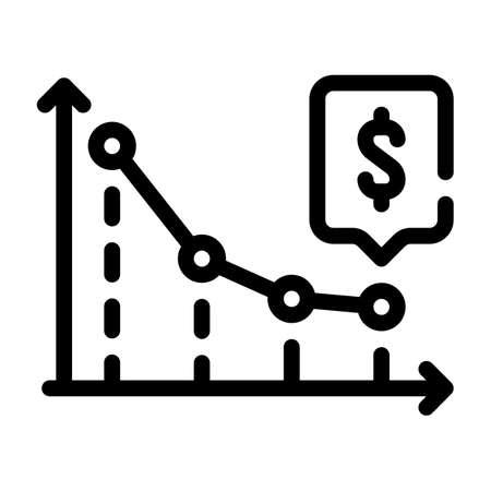 falling arrow infographic line icon vector illustration