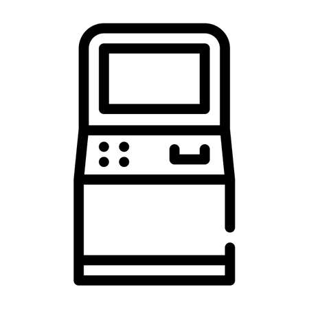 atm kiosk line icon vector isolated illustration