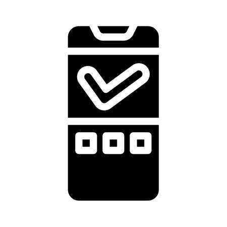 approved mark mobile display glyph icon vector illustration