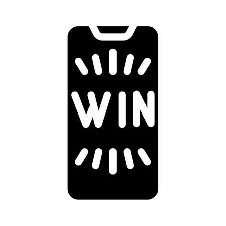 win smartphone screen glyph icon vector illustration