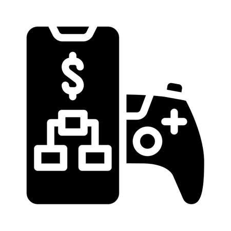loystick phone game glyph icon vector illustration