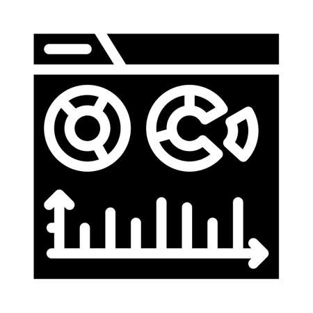 electronic financial report infographic glyph icon vector illustration