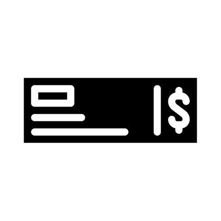 payment check glyph icon vector isolated illustration