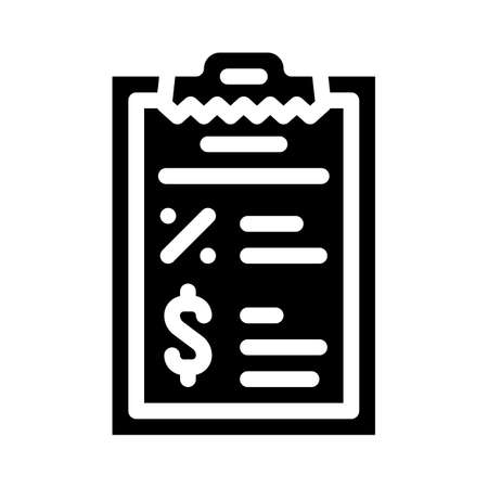 report revenue and percentage glyph icon vector illustration
