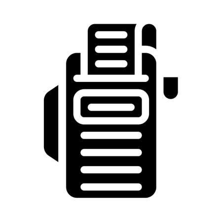 cash register with receipt glyph icon vector illustration Vettoriali