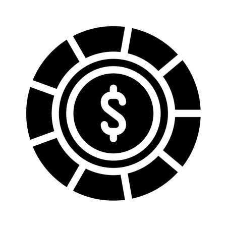 casino chip glyph icon vector isolated illustration