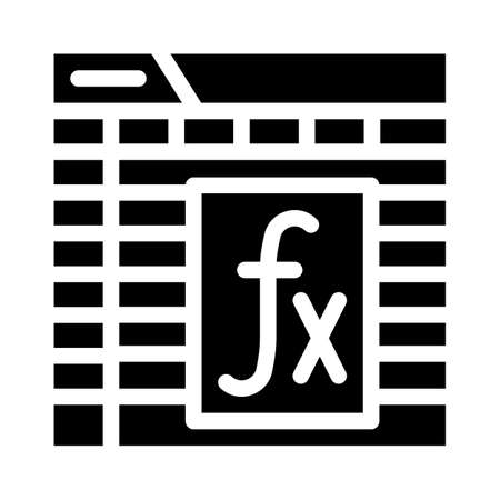 formula and function electronic document glyph icon vector illustration