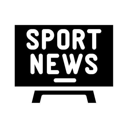 sport news tv glyph icon vector illustration