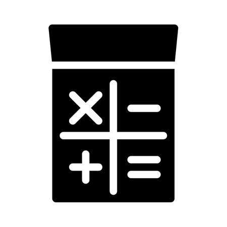 calculator gadget glyph icon vector isolated illustration
