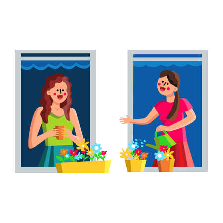 Neighbor Women Discussing Through Window Vector Illustration