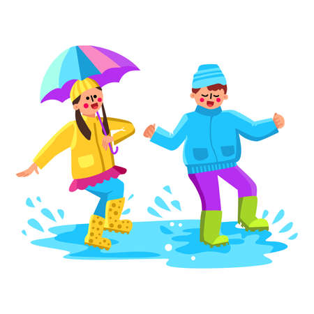 Children Jumping In Puddle With Splash Vector