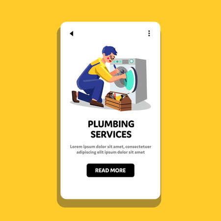 Plumbing Service Worker Fix Washing Machine Vector