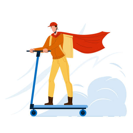 Courier Man Riding Scooter Delivery Service Vector