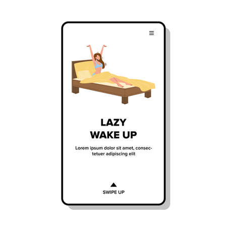 Lazy Wake Up Morning Woman In Cozy Bed Vector  イラスト・ベクター素材