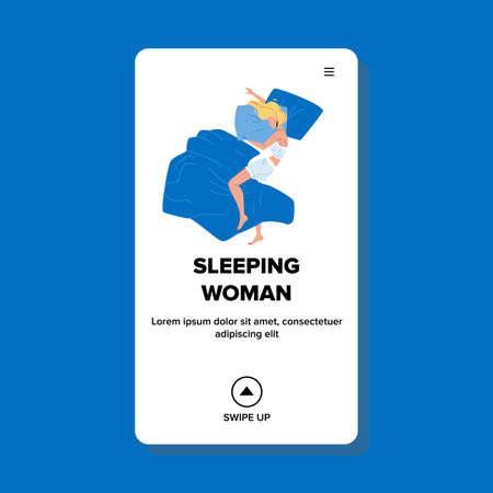 Sleeping Woman In Comfortable Bedroom Bed Vector