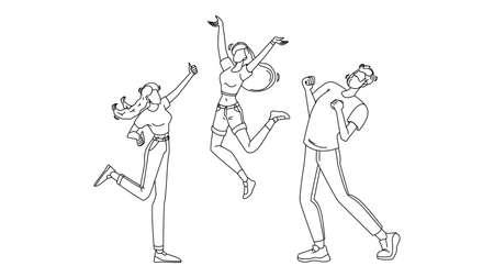 Happy People Jumping Enthusiasm Emotion Vector Illustration Vettoriali