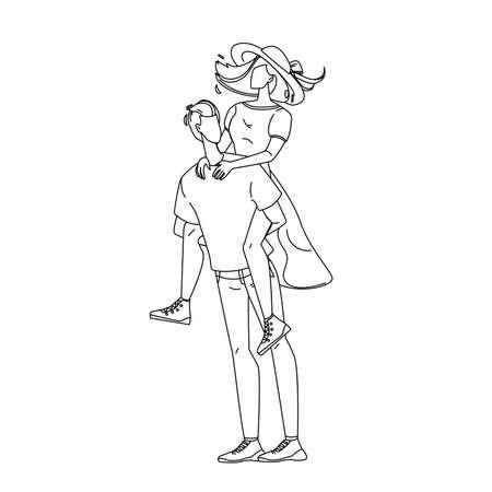 Man Holding Girl Piggyback Playing Game Vector Illustration