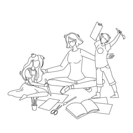 Babysitter Make Exercises With Children Vector Illustration
