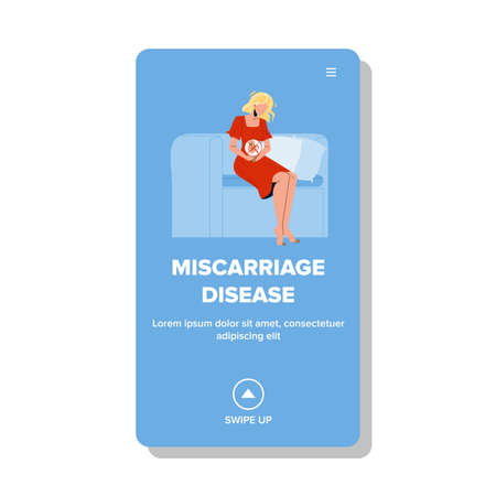 Miscarriage Disease Pregnant Girl Problem Vector Illustration