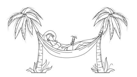 Woman Relaxing With Cocktail On Hammock Vector