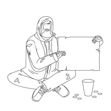 Beggar Sitting On Floor And Holding Carton Vector
