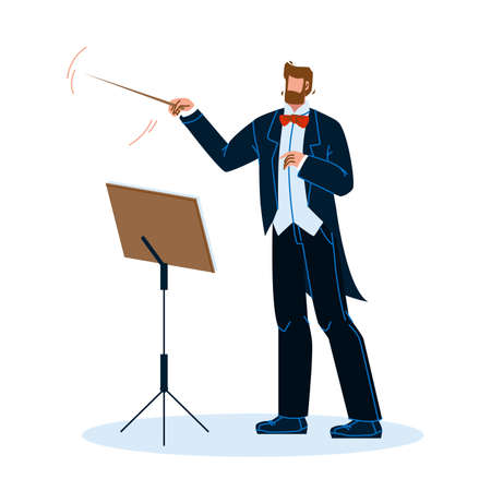 Music Conductor Man Conducting Orchestra Vector Illustration