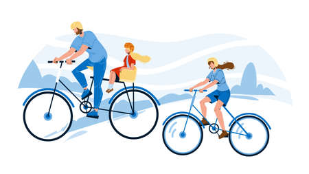 Bicyclists Family Riding Together In Park Vector 向量圖像