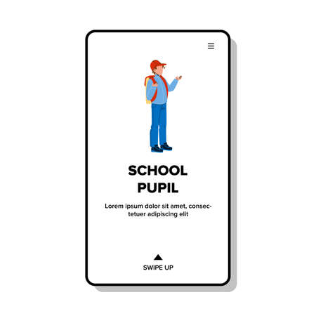 School Pupil With Backpack Go Classroom Vector