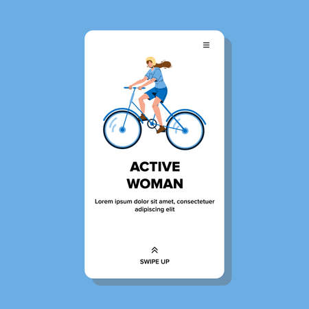 Active Woman Riding Bicycle Sport Time Vector
