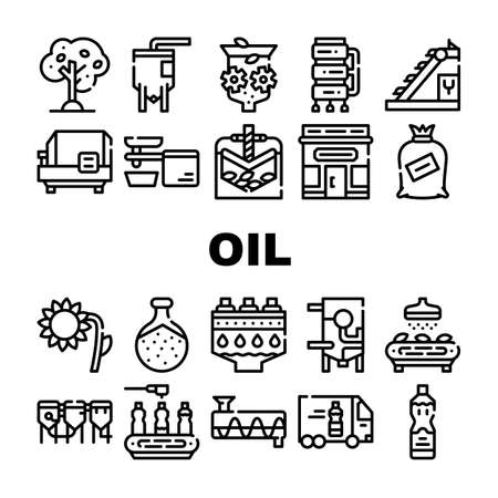Oil Production Plant Collection Icons Set Vector