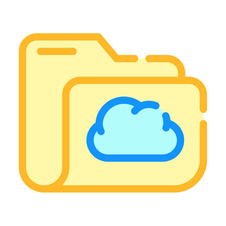 computer folder cloud storage color icon vector illustration