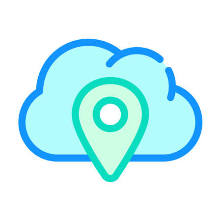 gps location cloud storage color icon vector illustration