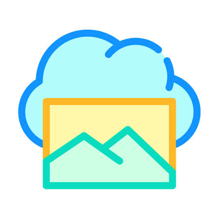 pictures cloud storage color icon vector illustration Ilustrace