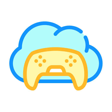 game safe cloud color icon vector illustration