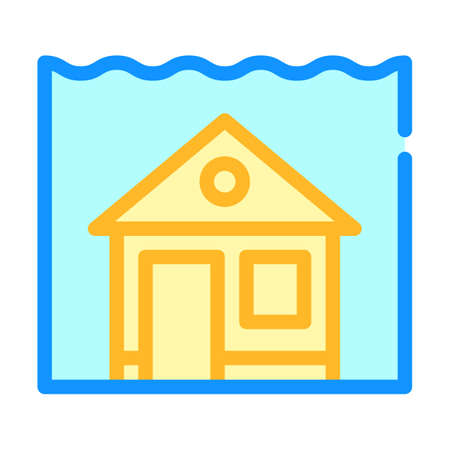 sea level rise color icon vector illustration