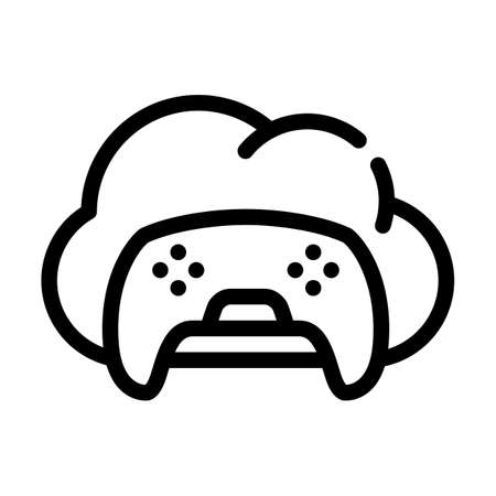 game safe cloud line icon vector illustration