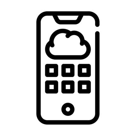 cloud storage phone files line icon vector illustration Ilustrace