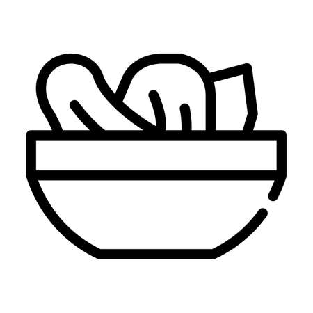 salad plate line icon vector symbol illustration