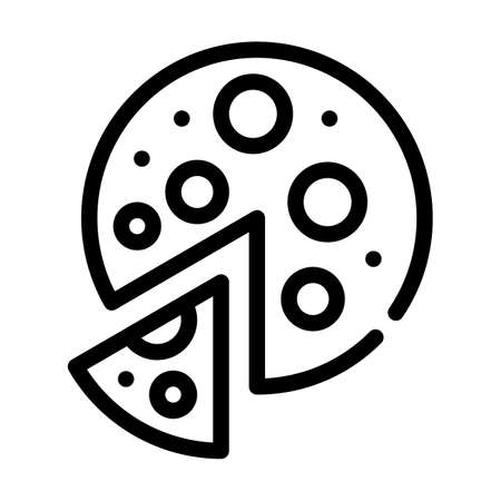 vegan pizza line icon vector symbol illustration Ilustrace
