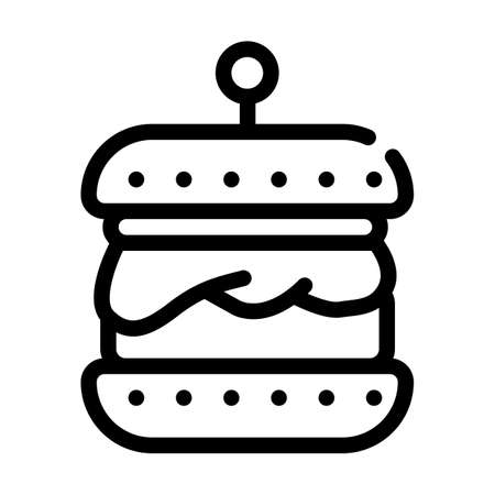 hamburger with vegan cutlet line icon vector illustration Ilustrace