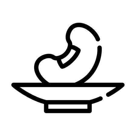 soy bean on plate line icon vector illustration Ilustrace