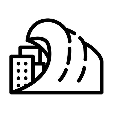 tsunami problem line icon vector symbol illustration