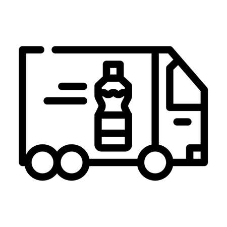 delivering oil truck line icon vector illustration Ilustrace