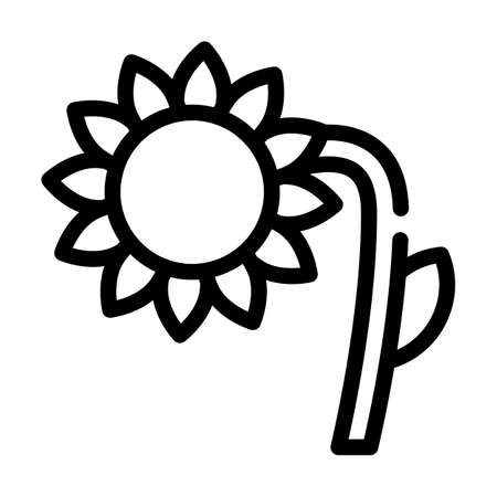 sunflower plant line icon vector symbol illustration